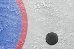 Goalmouth and hockey puck Royalty Free Stock Photography