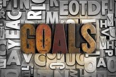 Goals. The word GOALS written in vintage letterpress type stock images