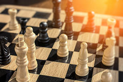 Goals and ambitions in chess battle with a glimmer of hope and w Stock Images