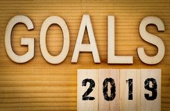 2019 goals banner - New Year resolution concept - text in vintage letters on wooden blocks stock photo