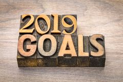 2019 goals banner in wood type. 2019 goals banner - New Year resolution concept - text in vintage letterpress wood type printing blocks against grained wood stock photos