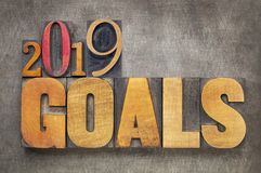 2019 goals banner in wood type goals in letterpress wood type. 2019 goals - New Year resolution concept - word abstract in vintage letterpress wood type blocks stock photos