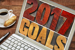 2017 goals banner in wood type Royalty Free Stock Images
