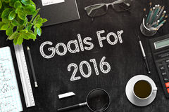 Goals For 2016 on Black Chalkboard. 3D Rendering. Goals For 2016. Business Concept Handwritten on Black Chalkboard. Top View Composition with Chalkboard and Stock Photography