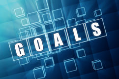 Goals in blue glass cubes Royalty Free Stock Photography
