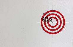 Goals in business concept. With with text, icons and ornaments brick wall background royalty free stock photos