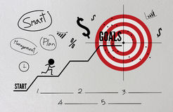 Goals in business concept. With with text, icons and ornaments brick wall background stock photos