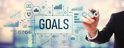 Goals with businessman. On blurred abstract background royalty free illustration