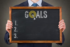 Goals Businessman on Chalkboard Royalty Free Stock Image