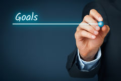 Goals. Businessman plan goals for its business. Background for business slide show for presentations royalty free stock image