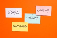 Goals in careers, health and relationships. Written on colored papers stock photo