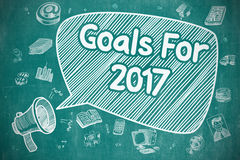 Goals For 2017 - Cartoon Illustration on Blue Chalkboard. Business Concept. Bullhorn with Wording Goals For 2017. Cartoon Illustration on Blue Chalkboard. Goals Royalty Free Stock Photos
