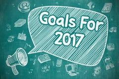 Goals For 2017 - Cartoon Illustration on Blue Chalkboard. Royalty Free Stock Photos