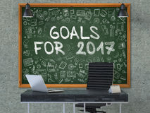 Goals for 2017 on Chalkboard with Doodle Icons. 3d. Goals for 2017 Concept Handwritten on Green Chalkboard with Doodle Icons. Office Interior with Modern Stock Photo