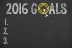 Goals 2016 on Chalkboard. Working conceptual Concept Stock Image