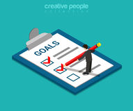 Goals checklist business flat isometric vector 3d. Goals checklist flat 3d isometry isometric business concept web vector illustration. Creative people Stock Image