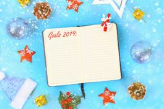 Goals 2019. Christmas mock up blank greeting card. Flat lay. Top view. Copy space. Goals 2019. Christmas mock up blank greeting card. Flat lay. Top view. Copy royalty free stock photo