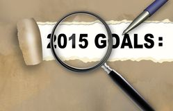2015 GOALS. Close-up of word 2015 GOALS with pen on it stock illustration