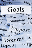 Goals Concept. A conceptual look at life or business goals, with similar concepts Stock Image