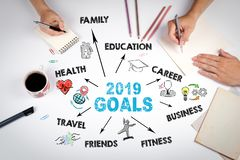 2019 goals Concept. Chart with keywords and icons