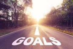 Goals concept. Empty asphalt road and Goals concept stock images