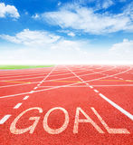 2016 Goals concept. Goal on red racing track with blue sky. 2016 Goals concept Stock Images