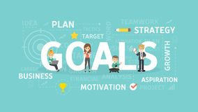 Goals concept illustration. Idea of strategy, aims and planning stock illustration