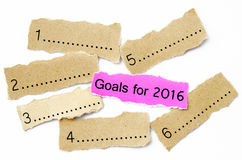 Goals For 2016, Concept on piece of sheet pink and brown paper. Stock Images