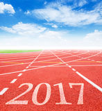 2017 Goals concept. 2017 on red racing track with blue sky. 2016 Goals concept Royalty Free Stock Photos