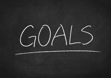 Goals. Concept word on blackboard background stock images