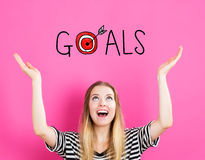 Goals concept with young woman Stock Image