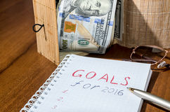 2016 goals conceptual on wooden Stock Photography