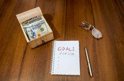 2016 goals conceptual on wooden Royalty Free Stock Photo