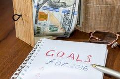 2016 goals conceptual on wooden Royalty Free Stock Photos