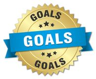 Goals 3d gold badge. With blue ribbon vector illustration