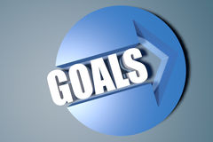Goals. 3d text render illustration concept with a arrow in a circle on blue-grey background vector illustration