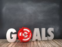 GOALS 3D Word with Target on Chalkboard Background. High Quality 3D Rendering royalty free illustration