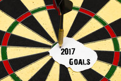 2017 Goals. Darts with dart which was pinned a sheet of paper fo. 2017 Goals. Darts with dart arrow which was pinned a sheet of paper for labels Royalty Free Stock Photo
