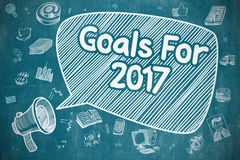 Goals For 2017 - Doodle Illustration on Blue Chalkboard. Royalty Free Stock Photos