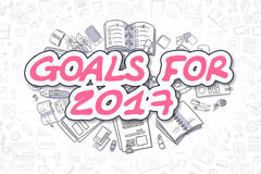 Goals For 2017 - Doodle Magenta Word. Business Concept. Stock Image