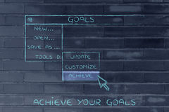 Goals dropdown menu, pointer selecting the Activate option Royalty Free Stock Image