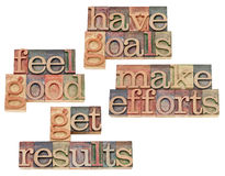 Goals, efforts, results, feeling good. Have goals, make efforts, get results, feel good - motivation and success concept - collage of isolated text in vintage Royalty Free Stock Photography