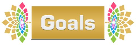 Goals Floral Left Right Banner. Goals text written over floral colorful background Stock Photo