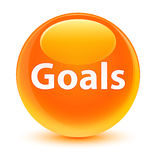 Goals glassy orange round button. Goals isolated on glassy orange round button abstract illustration Stock Photography