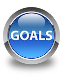 Goals glossy blue round button. Goals isolated on glossy blue round button abstract illustration Stock Image
