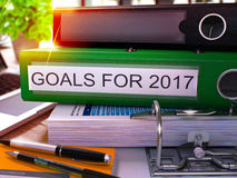 Goals for 2017 on Green Office Folder. Toned Image. 3D. Royalty Free Stock Image