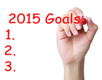 2015 Goals. Hand with red marker and 2015 Goals on white background. New year goals royalty free illustration