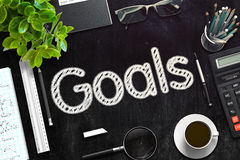 Goals Handwritten on Black Chalkboard. 3D Rendering. Royalty Free Stock Images
