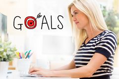 Goals with happy young woman in front of the computer Stock Images