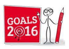 Goals 2016 illustration. Goals 2016 - stick man with target - illustration Stock Images